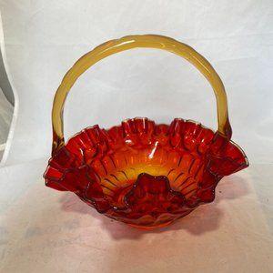 Vintage Fenton Red Art Glass Basket  w Amber Handl